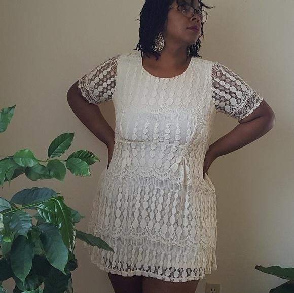 Xhilaration Plus Size Cream Crochet Dress